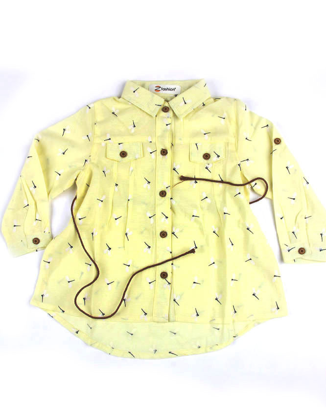 Girls Top Yellow Full Sleeves Pocket Style